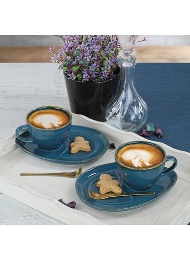 Keramika Keramika 4 ParÇa 2 Kişilik Safir Damla Kahve Sunum Seti Renkli